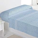 Barceló Hogar 03020490611 Juego de sábanas de franela, modelo Estocolmo, azul, 150 cm